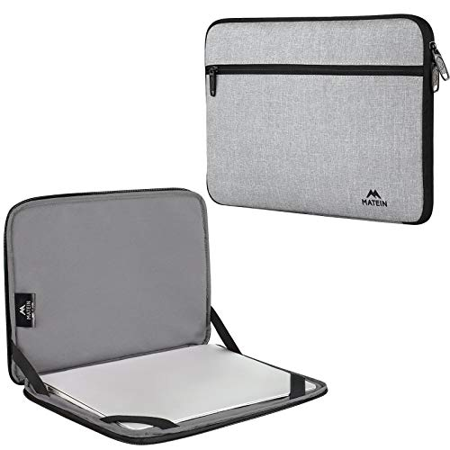 Chromebook Sleeve Case 14 Inch , MATEIN Water Resistant Laptop Bag with Accessory Pocket, Protective Computer Cover Compatible with Surface HP ASUS Lenovo Notebook, Padded Carrying Cases, Grey