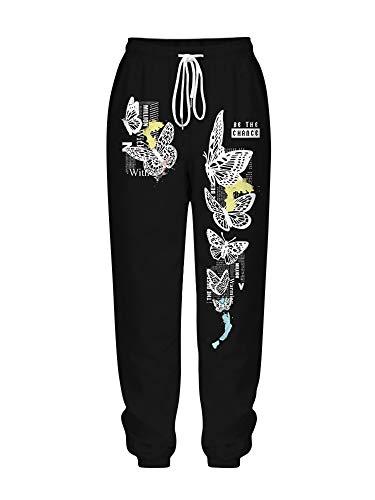 Pantalones sueltos ocasionales de cintura alta con lazo para mujer, pantalones de impresión con bolsillos, regalos para mujeres, Negro-3, XL