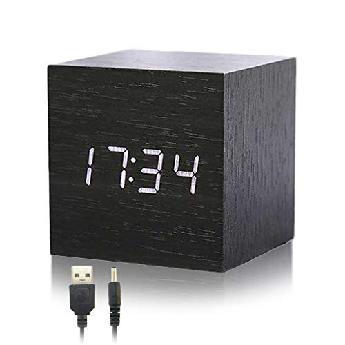 Despertador Reloj para Habitación, Minimalista Alarma Digital LED Indicador de Timepo Moderno Diseñado de Vetas Madera Mini Cubo Viene con Cable USB para Niños, Duermientes, Jóvenes (Negro)