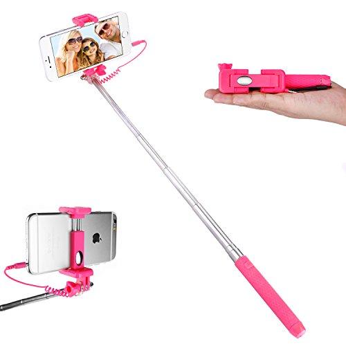 Asta per selfie con morsetto regolabile, senza Bluetooth, per Smartphone, iPhone, Samsung, Huawei, LG, Sony