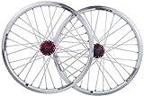 YANYUN Par De Ruedas Bicicleta Plegable Rueda De 20 Pulgadas BMX Llanta Aleación Disco De Freno De Doble Capa/V QR 7-10 Velocidades 32H,White