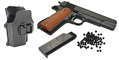 KS-11 XXL Set Softair Pistole - G13 Vollmetall Metallschlitten, schwarz Cal. 6 mm BB inklusive Airsoft BB Munition und Schnellziehholster