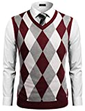 COOFANDY Mens Casual Slim Fit V-Neck Rhombus Business Knitwear Sweater Vest,Large,Wine Red