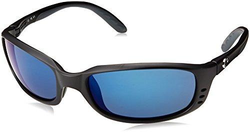 Costa Del Mar Men's Brine Polarized Oval Sunglasses, Matte Black/Grey Blue Mirrored Polarized-580P, 59 mm