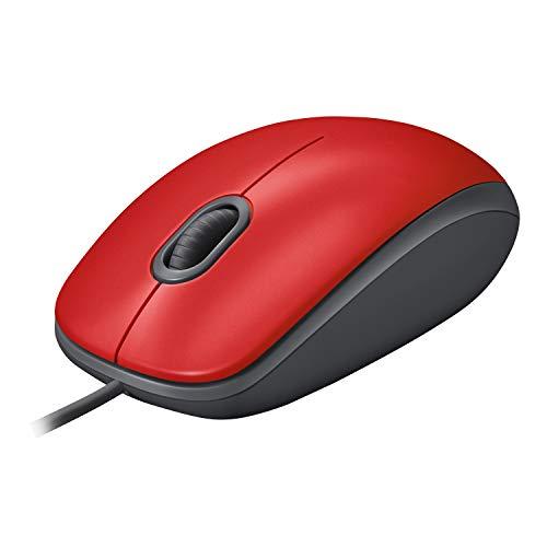 Logitech M110 Silent Maus mit Kabel, 1000 DPI Sensor, USB-Anschluss, 3 Tasten, Quiet-Mark Zertifiziert, Für Links- und Rechtshänder, PC/Mac - Rot