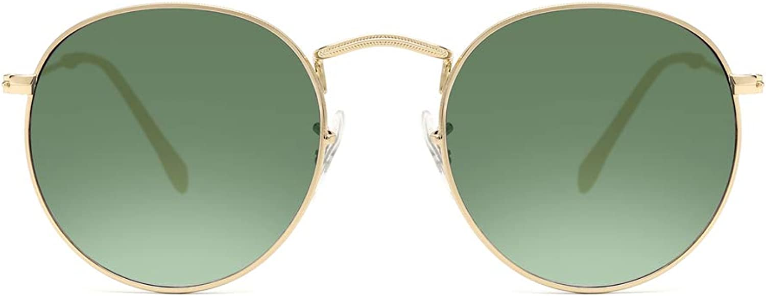Circle Sunglasses Glass with Dark Green lens for Men and Women Classic gold Metal Eyewear Round 3447 (Laus Home)