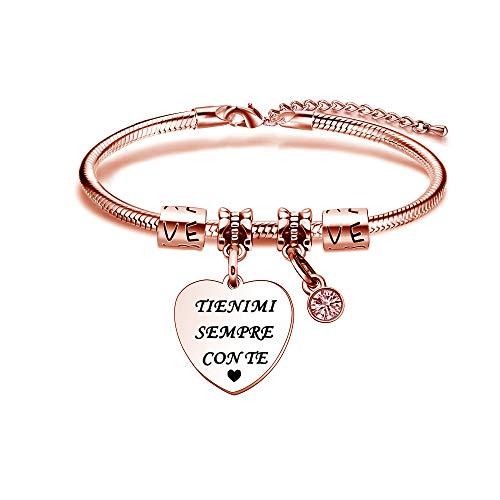 Kraven Pulseras San Valentín par pulsera mujer colgante personalizado regalos de Navidad cumpleaños joyas acero Tienimi siempre contigo.
