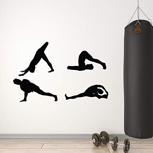 Stretching Exercise Wall Decals Healthy Gymnastics Exercise Doors and Windows Vinyl Stickers Yoga Training Room Gym Interior Art