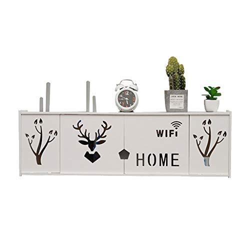 Caja De Almacenamiento De Enrutador Rack WiFi De Pared Decodificador De Gato Caja De Refugio De Pared (Color : Blanco, Size : 76 * 24 * 11.5cm)