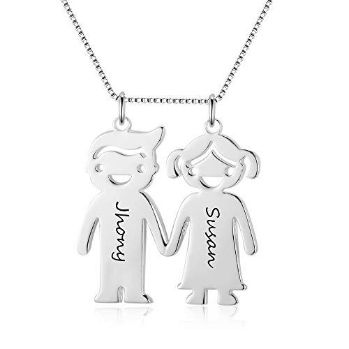 GaoSh 2 collana da donna con nome con incisione personalizzata in argento sterling 925 catena BFF a forma di cuore ciondolo collane di amicizia per anniversario San Valentino compleanno