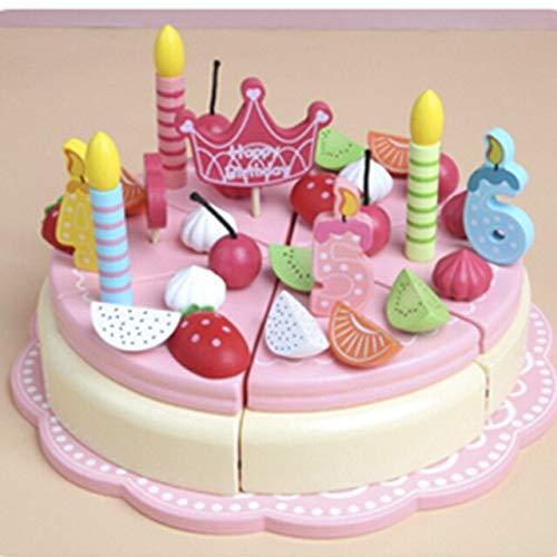 FEICHAIQAZ, Pastel magnético de simulación de Madera para niños, Juego de simulación, Cocina, Comida, Juguetes educativos, niñas, Fresa, Pastel de cumpleaños Doble, bebé