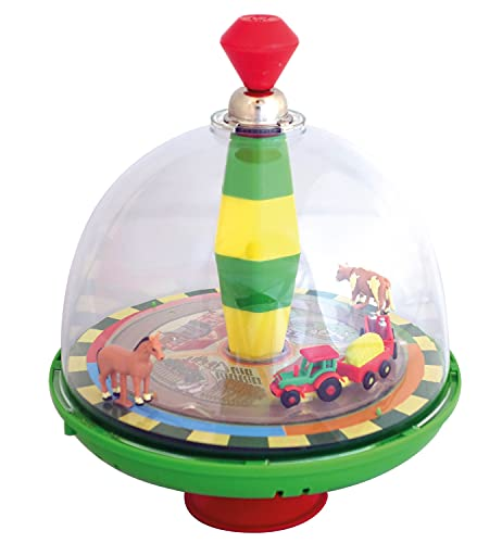 alldoro 68023 Farm Panoramic Spinning Top Diameter 19 cm, Pump Spinning Top with Sound, Swing Top with Stand, Music Gyro with Tractor, Classic Toy Gyroscope for Children from 18 Months