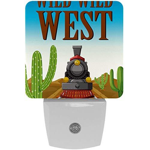 Wild West Train Desert Cactus Print Plug-in LED Night Light Lámpara de noche para niños con atardecer hasta el amanecer Auto Motion Senor Adecuado para dormitorio, baño, escaleras, cocina, pasillo