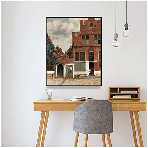 Canvaskunst schilderij《Het straatje》Johannes · Vermeer Poster Picture Wall Decor Modern Home Woonkamer Decoratie -60x80cm Geen lijst