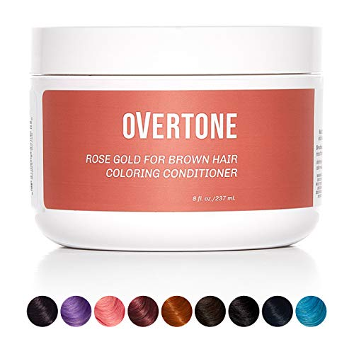 oVertoneHaircare Rose Gold for Brown Hair DeepColoring Conditioner | Gentle Semi-Permanent Hair Color with Shea Butter & Coconut Oil | Safe for All Hair Types | Vegan, Cruelty-Free | 8 oz