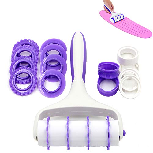 24Pcsset Fondant Strip Ribbon Cutter Sugarcraft Cake Decorating Tools Rolling Pin Embosser Roller Set Noodle Dough Embossing Cake Embosser Roller Cookie Cutters Pastry Baking Tools