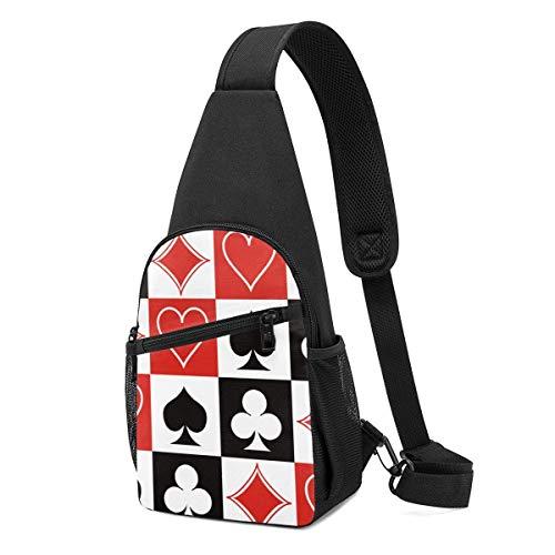 DJNGN Grid Poker Naipes Sling Mochila Hombro Crossbody Bag