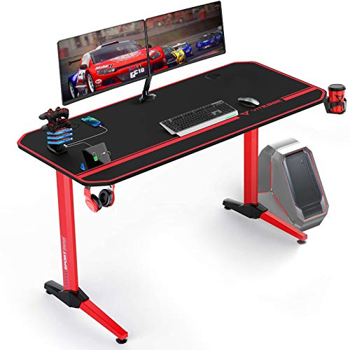 VIT 55 Inch Ergonomic Gaming Desk, T Shaped Office PC Computer Desk with Full Desk Mouse Pad, Gamer Tables Pro with USB Gaming Handle Rack, Stand Cup Holder and Headphone Hook, Red