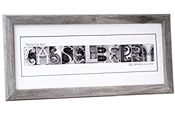 Creative Letter Art Personalized Framed Name 12 by 26 inch Made with Black and White Architectural Alphabet Photographs for Personalized Gift Wedding Graduation Anniversary Baby Name