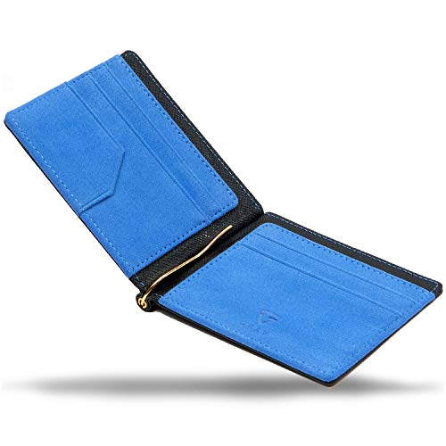 【GRAV】 マネークリップ メンズ カードケース 財布 二つ折り 札入れ (ICカードポケット 隠しポケット付き) (ブラック×ブルー)
