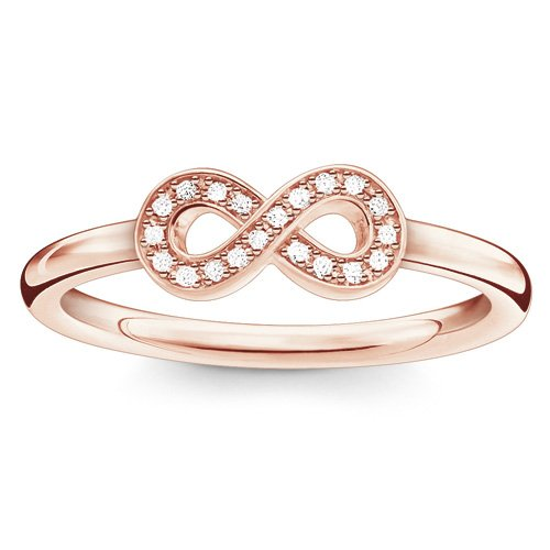 THOMAS SABO Damen-Ring Roségold Unendlichkeit Verlobungsring Silber vergoldet Diamant weiß Gr. 56 (17.8) - D_TR0001-923-14-56