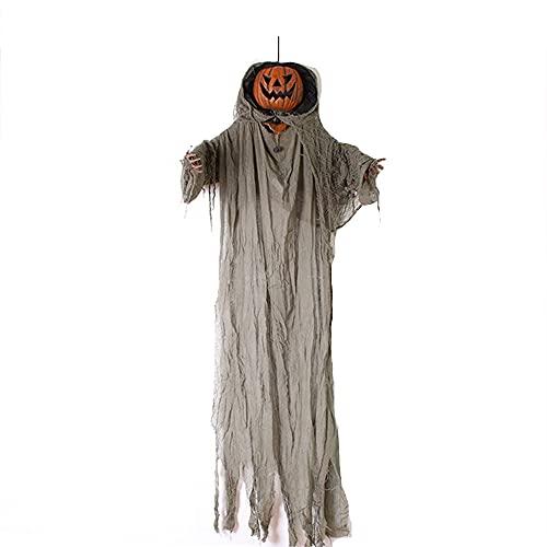 WWQQ Accesorios De Miedo Calabaza Halloween Colgando Ghost Control De Voz con Luz Y Sonido Decoración De La Fiesta De Sonido Decoraciones De Halloween Al Aire Libre