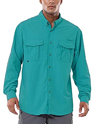 BALEAF Men's UPF 50+ Hiking Shirt Long Sleeve Shirt Outdoor Lightweight Quick Dry Fishing Shirts Light Green L
