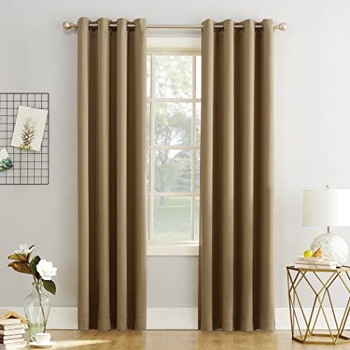"Sun Zero Easton Blackout Energy Efficient Grommet Curtain Panel, 54"" x 108"", Taupe"