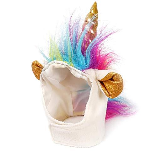 tJexePYK Katzen-Einhorn-Hut-Kostüm Für Kleinen Hund Katze Novel Lustige Adjustabale Cosplay Mane Hut Kopfbedeckung Für Halloween Festival-Party-Foto Props Pet Supplies