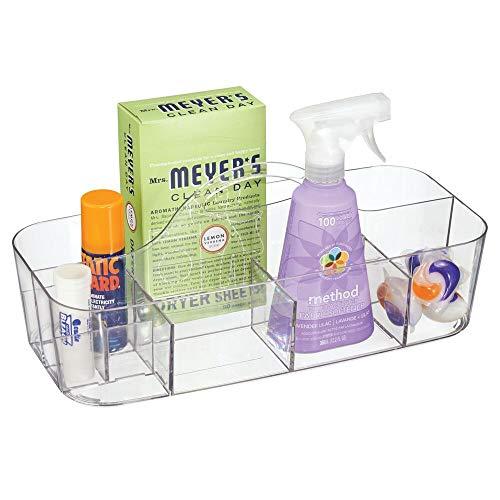 mDesign Organizador plastico con 11 Compartimentos para su lavadero - Cesta organizadora en Color Transparente provista de asa para un cómodo Transporte - Organice Todos Sus Productos de Limpieza