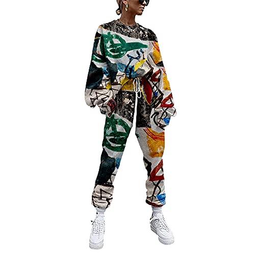 YZJYB Chándal para Mujer Pijamas 2 Piezas Casual Conjuntos Deportivos Completo Encapuchado Sudadera + Pantalones con Cordón Ropa XXS-4XL,Multi Colored,XL