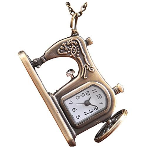 Reloj de bolsillo análogo de bolsillo de bolsillo de bolsillo Máquina de coser Máquina de coser Collar Colgante Reloj de bolsillo Bronce Cadena vintage Collar de bolsillo Accesorios para uso diario