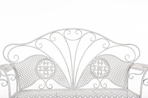 CLP Metall-Gartenbank TJURE im Landhausstil, Eisen lackiert, ca. 140 x 60 cm Antik Weiß - 3
