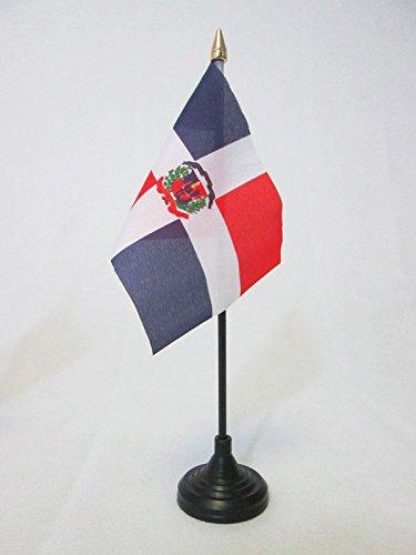 AZ FLAG Bandera de Mesa de la REPÚBLICA Dominicana 15x10cm - BANDERINA de DESPACHO Dominicana 10 x 15 cm Punta Dorada