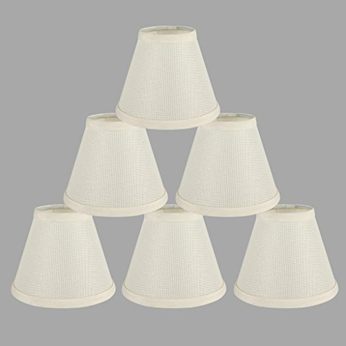 ONEPRE Cream Clip on Lamp Shades Light Shades Off White Candle Chandelier Lampshades for Ceiling Pendant Light, Set of 6