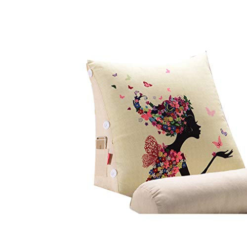 Lumbar Almohada Triángulo del amortiguador amortiguador cama de lino Soporte amortiguador cama casa caso suave apoyo for la cabeza suave paquete de lectura de la almohadilla de doble capa tridimension