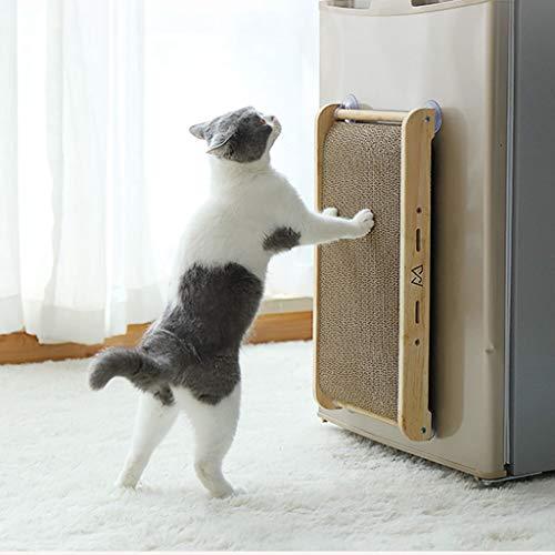 Qks Cat Scratch Juguetes para Gatos de cartón Ondulado Uña de Gato Resistente a los arañazos Junta Vertical Ventosa Pet Rascador ecológico de cartón Corrugado para Gatos