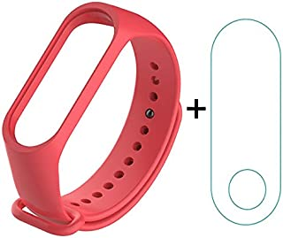 VEROX Strap for Mi Band 4 Red Color Strap with Screen Protector Combo Pack Bracelet Accessories