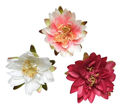 Set of 3 Artificial Silk Fabric Water Lily / Lotus Pond Plants on Green Plastic Leaf - WHITE, PALE PINK and FUCHSIA - 15 cm