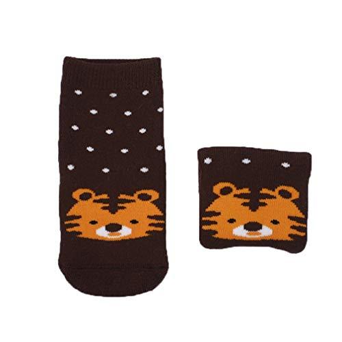 Bigood Baby-Socken für Neugeborene & Kleinkinder, Cartoon-Tier-Design, weich Gr. S, Coffee Tiger