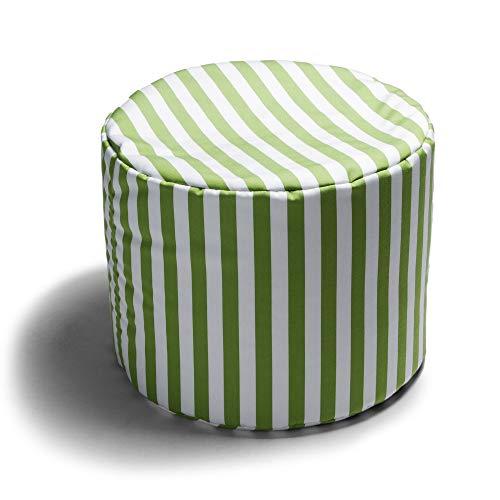 Jaxx Spring Indoor/Outdoor Bean Bag Ottoman, Lime Stripes