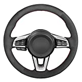 QWSNED Funda de volante cosida a mano, funda de cuero antideslizante para el volante, accesorios para el interior del coche, apto para Mazda MX-5 2015-2020
