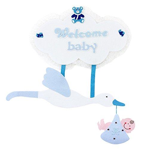 Das Kostümland Baby Shower Party Dekoration - XL Wandbild Storch 80 x 70 cm - Blau - Wanddeko Geschenk zur Geburt Junge