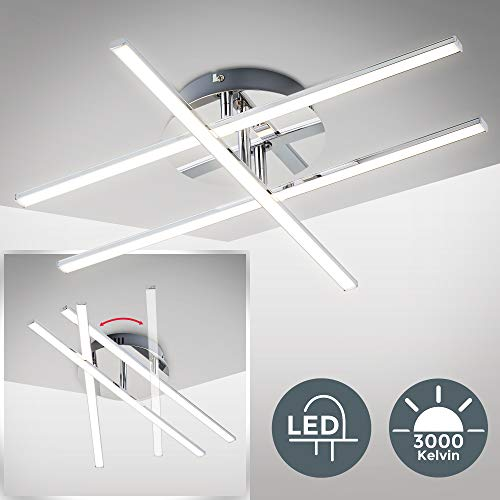 LED Deckenleuchte I 3 flammig I moderne Deckenlampe I inkl. 12,5W 1150lm LED Platine I 3000K warmweiß I Chrom I IP20
