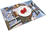 QIANKUI Christmas Country Snowman Christmas Tree 4 Piece Set of Placemats Party Decor Dining Room Home Ornament Table Place Mat Decorations Themed Print Pattern