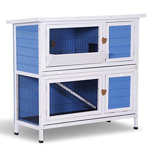 Lovupet 43inch 2-Story Elevated Stacked Outdoor Wooden Rabbit Hutch Small Animal Habitat with Ramp (Blue)
