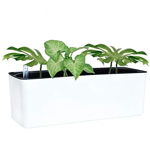 YoleShy 16 Inch Self Watering Planter, White Plastic Window Planters with Fiber Soil for Indoor Plants, Rectangle Window Box   Modern Decorative Flower Pot for All Home Herbs Succulents
