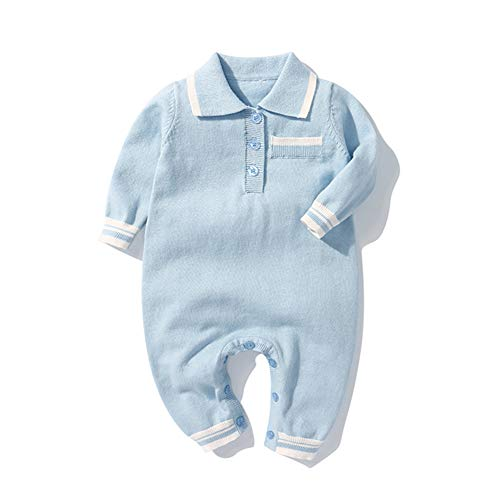 JunNeng Baby Boy Knitted Romper Longsleeve Gentleman Autumn 1Pcs Jumpsuits Christmas One Pieces,Light Blue 3-6 Months