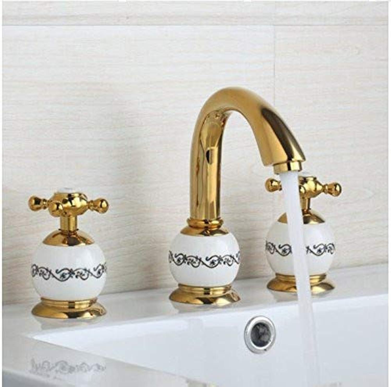 MARCU Home Wasserhhne Keramik Golden 3 Stück Einhebel-Schwenkauslauf Dusche Badezimmer Waschbecken aus Messing Badewanne Torneira Mischbatterie Wasserhahn