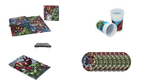 ALMACENESADAN 1077, Pack cumpleaños Fiestas y cumpleaños Avengers, compuestopor Mantel Fiesta 120x180 cm, por 8 Platos, 8 Vasos y 20 servilletas